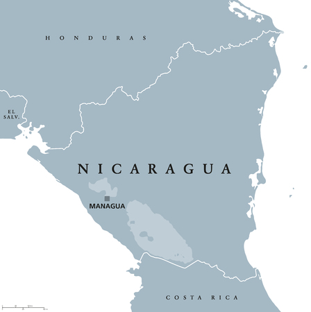 isthmus: Nicaragua political map with capital Managua, national borders and neighbors. Republic and country in Central America isthmus. English labeling. Vector.