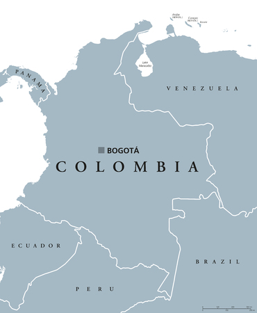 73453238 colombia political map with capital bogota national borders and neighbors republic and transcontinental country in central and south america