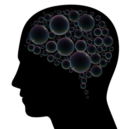 Soap bubbles instead of brain in a human head, as a symbol for fantasy, dreams, languor, confusion, depression, dementia or stress. Isolated vector illustration on black background.