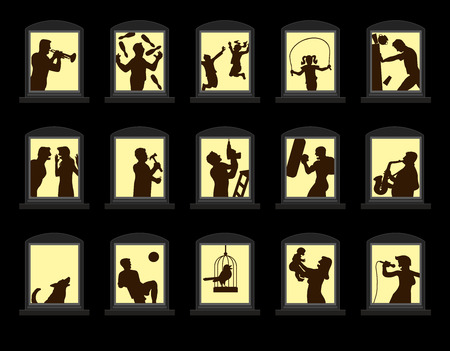 Loud neighbors making noise behind soundproof windows at night. Isolated vector illustration on black background.