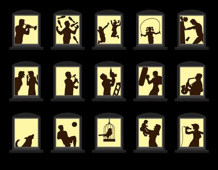ruido: Ruidosos vecinos haciendo ruido detrás de las ventanas insonorizadas por la noche. Ilustración vectorial aislados sobre fondo negro.