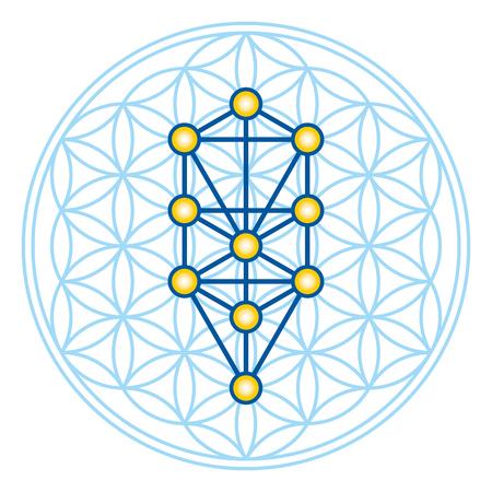 Flor de la vida en el árbol de la vida. Sephirotes de Kabbalah en la antigua símbolo simétrico, compuestas de múltiples círculos superpuestos, formando una flor como patrón. Geometría sagrada. Ilustración. Vector. Ilustración de vector