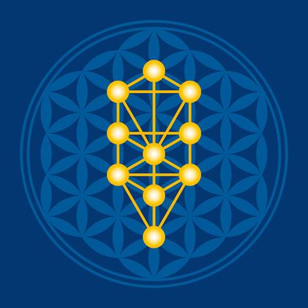 Gouden Boom in blauw Flower of Life over donkerblauwe. Kabbalah Sephirots in een oud mandala symbool bestaat uit elkaar overlappende cirkels, de vorming van een bloem als patroon. Heilige geometrie. Illustratie. Vector