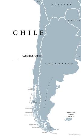 Carte politique du Chili avec la capitale Santiago, les frontières nationales et les voisins. République et pays d'Amérique du Sud. Bande de terre longue et étroite. Illustration grise sur blanc. Étiquetage en anglais. Vecteur.