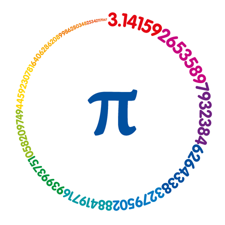Hundred digits of number Pi forming a rainbow colored circle. Value of infinite number Pi accurate to ninety-nine decimal places. Spectrum colored sequence. Illustration on white background. Vector. Ilustração