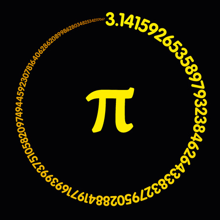 Golden number Pi. Hundred digits of the constant forming an orange-yellow colored circle. Value of infinite number Pi accurate to ninety-nine decimal places. Illustration on black background. Vector. 일러스트