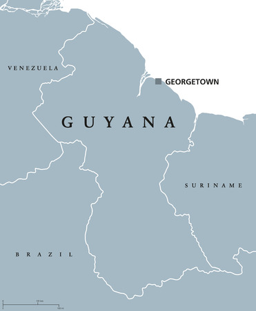 sovereign: Guyana political map with capital Georgetown and national borders. Republic, country and sovereign state on northern mainland of South America. Gray illustration over white. English labeling. Vector.