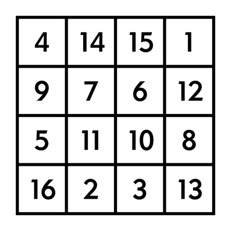 4x4 magic square of order 4 of astrological planet Jupiter with magic constant 34. The sum of numbers in any row, column, or diagonal is always thirty-four. Black and white illustration. Vector. Illustration