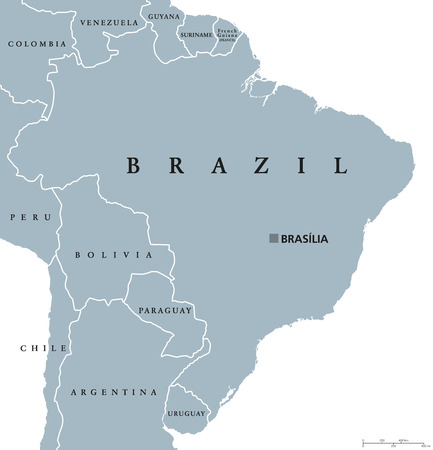 73669728 brazil political map with capital brasilia national borders and neighbors federal republic and country in south america