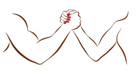 男女や性別との闘争の象徴として男女のアーム レスリングの戦い。白の背景にベクトル画像を分離しました。  イラスト・ベクター素材
