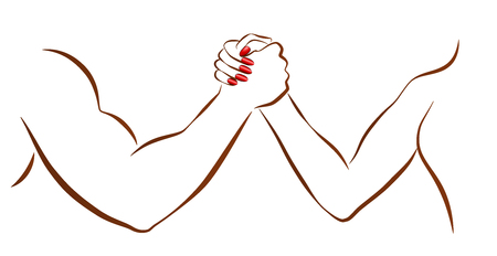 Arm wrestling of man and woman as a symbol for battle of the sexes or gender fight. Isolated vector illustration on white background. Vectores