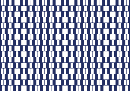 geometrical: White rectangles in a row. Pattern and seamless tile. Textile design and background. Illustration on blue background. Vector