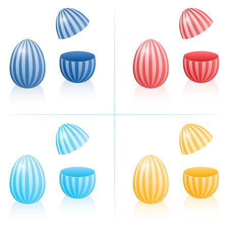 Easter egg fillable boxes with stripes, closed and opened to be filled - in four different colors. Three-dimensional isolated vector illustration on white background. Stock Photo