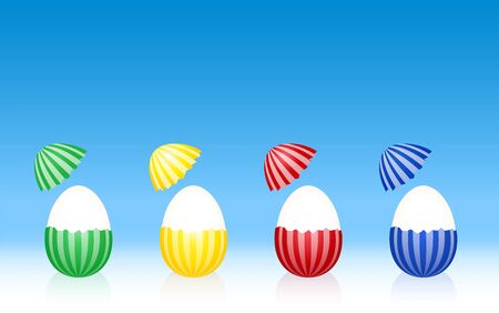 broken eggs: Easter eggs - hard boiled egg white - cracked half peeled shell - striped pattern - four different colors. Three-dimensional vector illustration on gradient blue background. Stock Photo