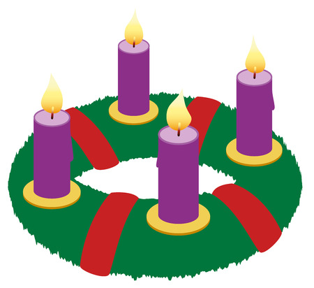Advent wreath with burning purple candles and red ribbons - isolated icon vector illustration on white background.