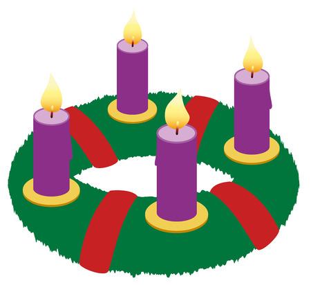 Wieniec adwentowy z płonącymi purpurowymi świecami i czerwonymi wstążkami - izolowane ikona ilustracji wektorowych na białym tle.