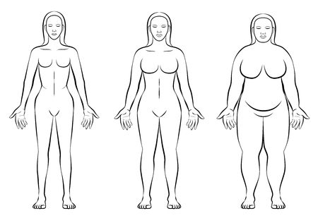Female body constitution types - thin, normal weight and fat figure of a woman - ectomorph, mesomorph and endomorph - isolated outline vector illustration of three women with different anatomy. Vectores