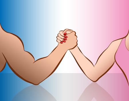 男女対決の象徴として男女のアーム レスリング。ピンクとブルーのグラデーションのベクトル図を分離しました。