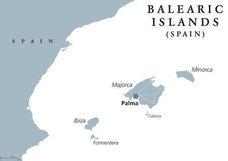archipelago: Balearic Islands political map with capital Palma. Majorca, Minorca, Ibiza, Formentera. Spain autonomous community in Mediterranean Sea. Gray illustration on white background. English labeling. Vector