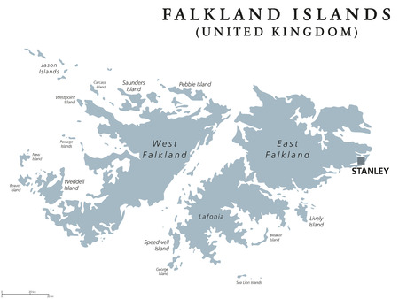 archipelago: Falkland Islands political map with capital Stanley. British overseas territory.