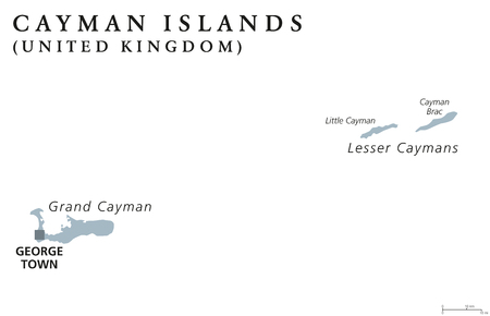 overseas: Cayman Islands political map with capital George Town. British Overseas Territory. Three islands in the western Caribbean Sea. Gray illustration isolated on white background. English labeling. Vector.