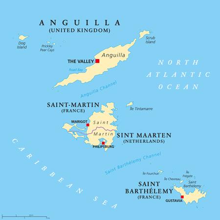 Netherlands Antilles Political Map Aruba Curacao Bonaire