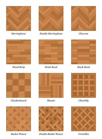 mosaic floor: Parquet pattern chart - most popular parquetry wood flooring samples with names - isolated vector illustration on white background.