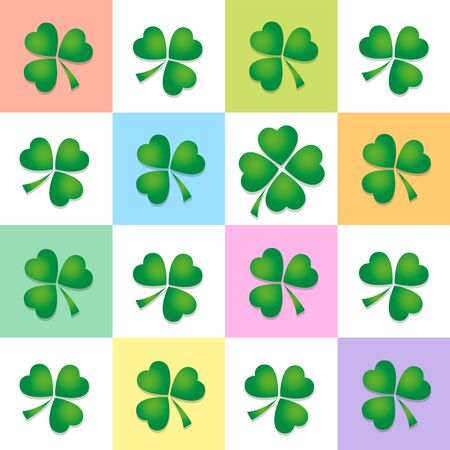 four leaved: Clover leaf pattern, four and three leaved clovers on colored square background. Vector illustration.