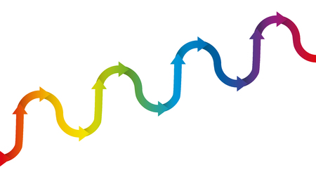Gradual upward trend graph - symbolic figure for increase and growth with temporary descending or declining phases of a development, depicted with a rhythmically ascending rainbow colored arrow wave.