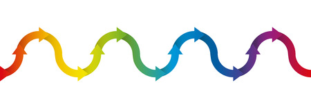 oscillation: Up and down symbol for undulation and oscillation, depicted with a rainbow colored arrow wave - isolated vector illustration on white background, seamless extensible in both directions. Illustration