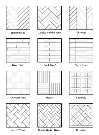 Parquet patterns - collection of most popular flooring samples with names - isolated outline vector illustration on white background.  イラスト・ベクター素材