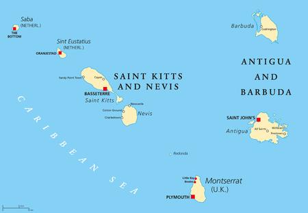 San Cristobal Y Nieves Mapa Politico Con La Capital Basseterre