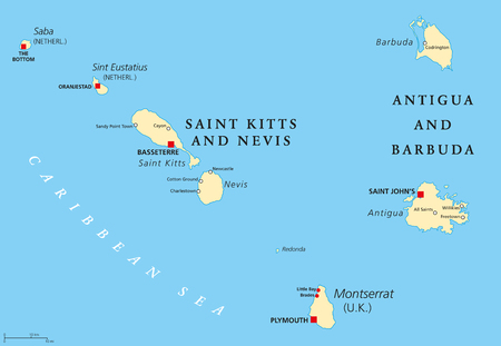 Saint Kitts And Nevis, Antigua And Barbuda, Montserrat, Saba and Sint Eustatius political map. Islands in the Caribbean Sea and parts of the Lesser Antilles. Illustration with English labeling. Vector Illustration