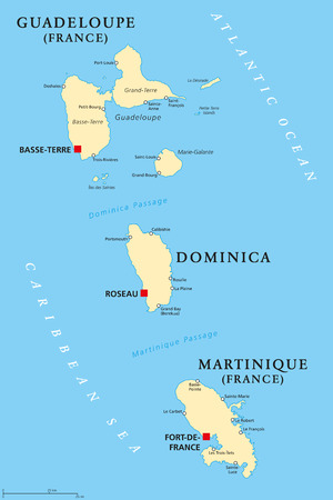 Islands in Caribbean Sea and parts of Lesser Antilles. Illustration