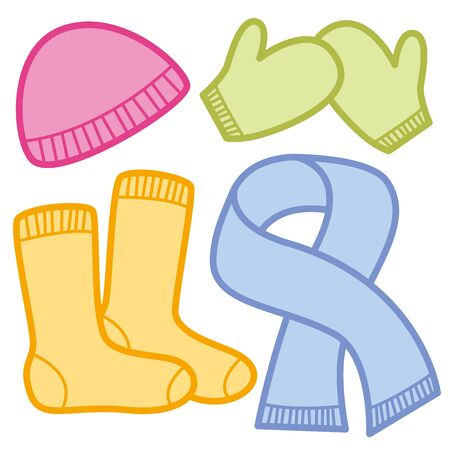 Winter clothing comic icons - pink woolen cap, green mittens, orange socks and blue scarf.