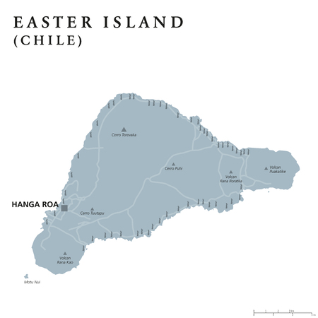 Easter Island political map with capital Hanga Roa, streets and monumental Moai statues. Chilean island in southeastern Pacific Ocean. Gray illustration on white background. English labeling. Vector.