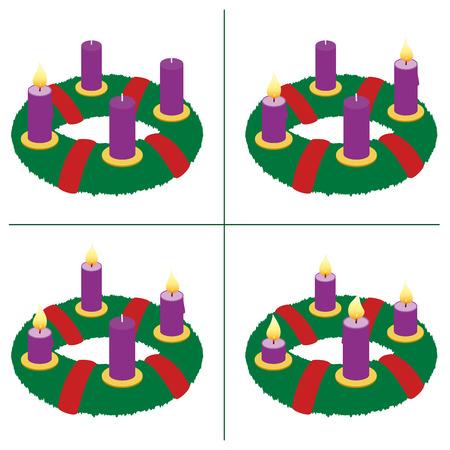 Wieniec adwentowy na pierwszej, drugiej, trzeciej, czwartej niedzieli Adwentu - z jednym, dwoma, trzema i czterema zapalonymi świecami o różnej długości w zależności od czasu palenia w porządku chronologicznym. Wektor na białym tle.