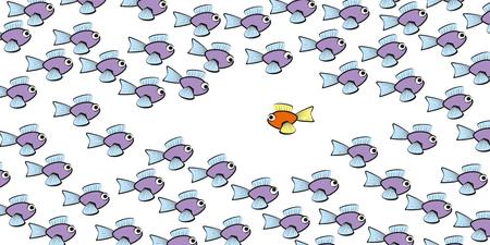 Nuota controcorrente: un pesce sta nuotando in un'altra direzione, simbolo di coraggio, individualità, solitudine o stile di vita diverso. Illustrazione comica di vettore isolato su priorità bassa bianca.