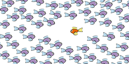 against: Swim against the tide - one fish is swimming in another direction - symbol for courage, individuality, loneliness or different lifestyle. Isolated vector comic illustration on white background.