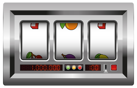 slot in: Slot machine with blank reels to insert your company logo or any text or picture in. Isolated vector illustration on white background.