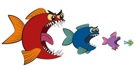Grandi pesci che mangiano piccoli pesci - simbolo per la gerarchia, la presa in carico, l'assorbimento, l'usurpazione, il sequestro della potenza o la catena alimentare. Illustrazione fumetto isolato su sfondo bianco.