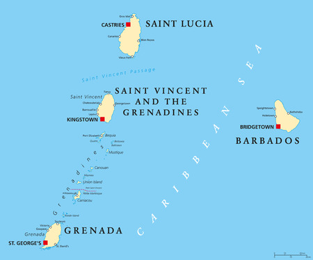 Barbados, Grenada, Saint Lucia, Saint Vincent and the Grenadines political map.