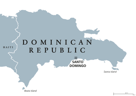 labeling: Dominican Republic political map with capital Santo Domingo. Caribbean country on the Hispaniola island in the Greater Antilles archipelago. Gray illustration over white. English labeling. Vector.