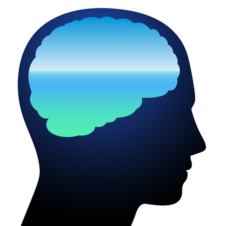 Tranquility - symbolized by a brain with relaxing calm blue ocean vision meditation. Isolated vector illustration on white background.