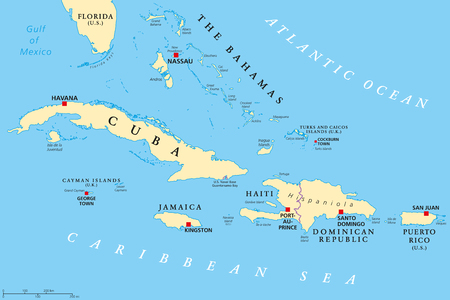 Greater Antilles political map. Caribbean islands. Cuba, Jamaica, Haiti, Dominican Republic, Puerto Rico, Cayman Islands, The Bahamas, Turks And Caicos Islands. Illustration. English labeling. Vector.
