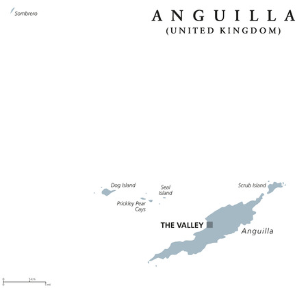 americas: Anguilla political map with capital The Valley. British overseas territory in the Caribbean, part of the Leeward Islands in the Lesser Antilles. Gray illustration over white. English labeling. Vector.
