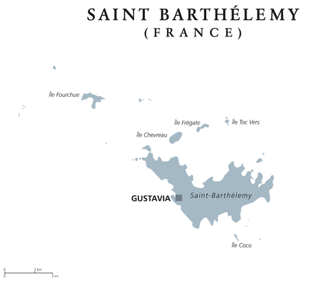 collectivity: Saint Barthelemy political map with capital Gustavia. Territorial collectivity of France in the Caribbean. Also St. Barths, St. Barts, Ouanalao. Gray illustration over white. English labeling. Vector.