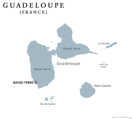 guadeloupe: Guadeloupe political map with capital Basse-Terre.