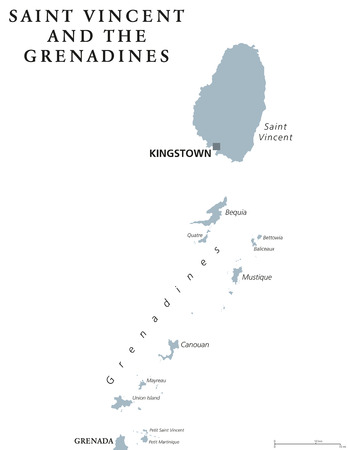 windward: Caribbean islands country, part of Lesser Antilles and Windward Islands. Gray illustration over white. English labeling. Vector.