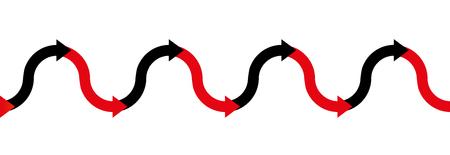 赤 - 黒 - 矢印波 - 営利または黒で肯定的な利益を有すると損失を有するか、赤で借金でビジネス シンボル - 図シームレスな上下の両方向に拡張可能